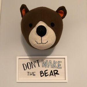 Bear head wall decor and sign